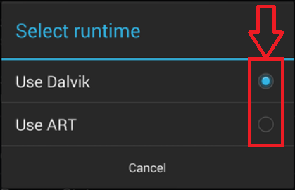 Android KitKat: Select Runtime