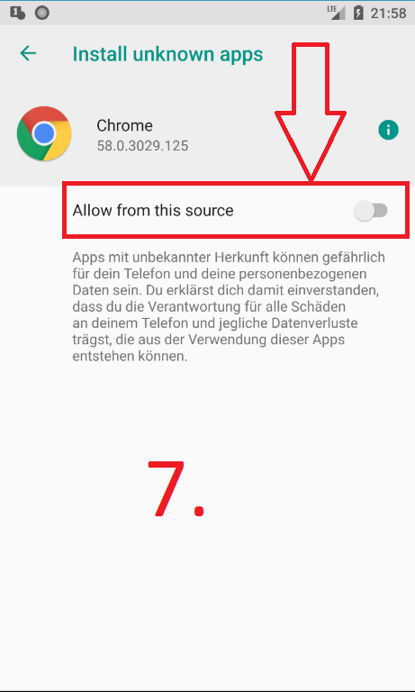 Android Oreo: Install unknown apps (Schritt 7a)