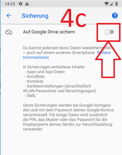 Android 9 (Pie): Android-Backup bei Google-Drive anlegen (Schritt 4c)